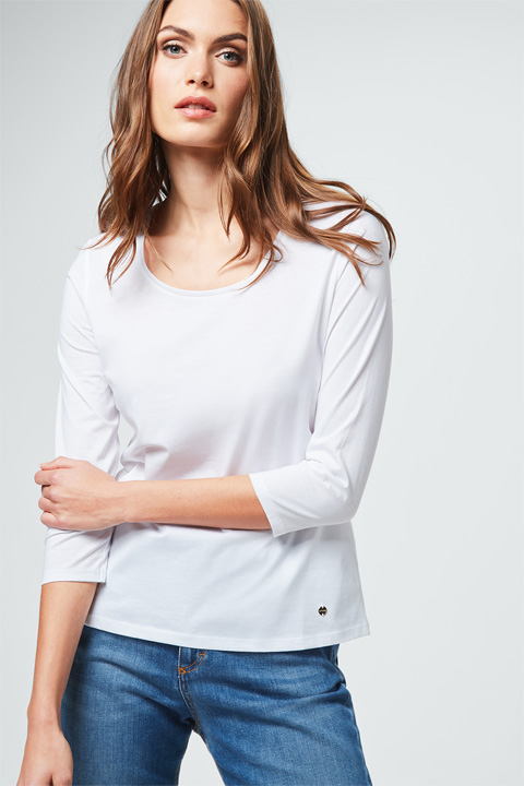 Baumwoll-Shirt in Weiß