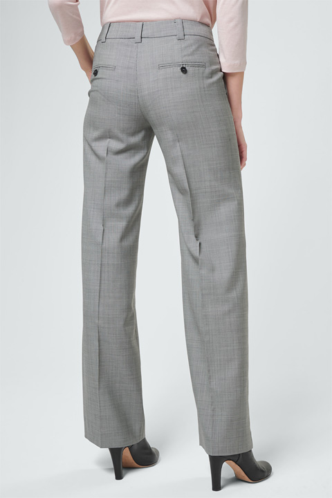 Schurwoll-Marlene-Hose in Grau gemustert
