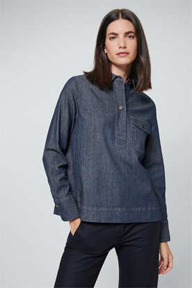 Jeans-Bluse aus Organic-Stretch-Denim in Navy
