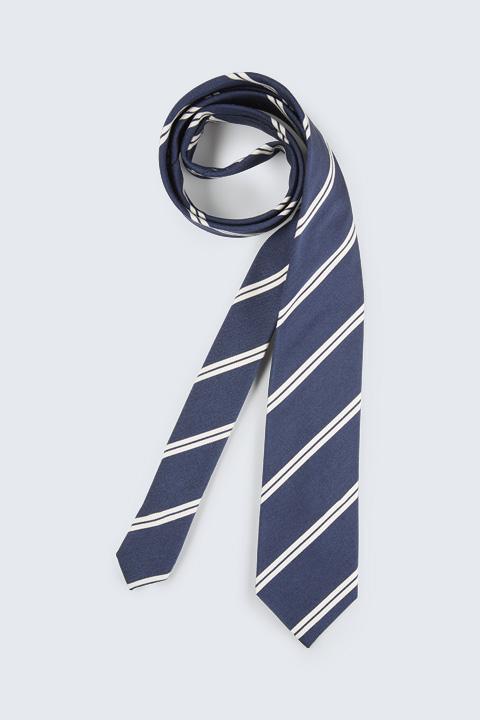 Krawatte mit Seide in Dunkelblau gestreift