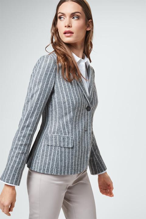 Jersey-Blazer in Grau-Weiß gestreift