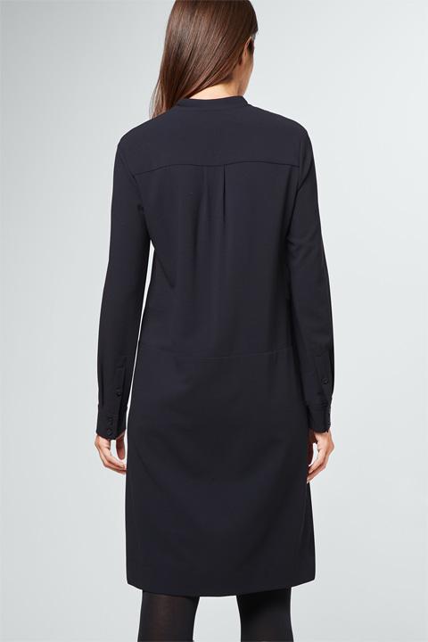 Wollcrêpe-Kleid in Navy