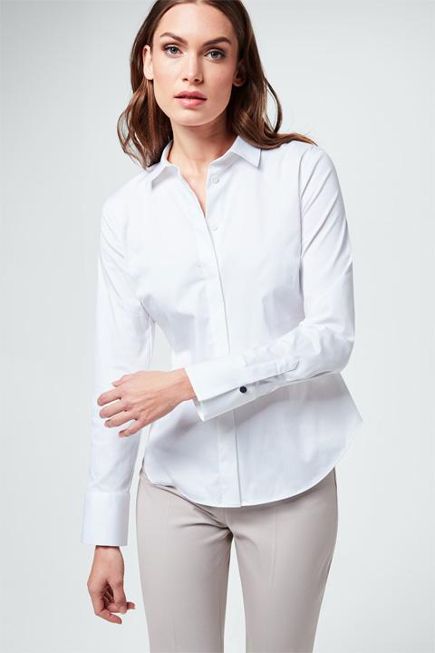 Baumwollsatin-Bluse in Weiß