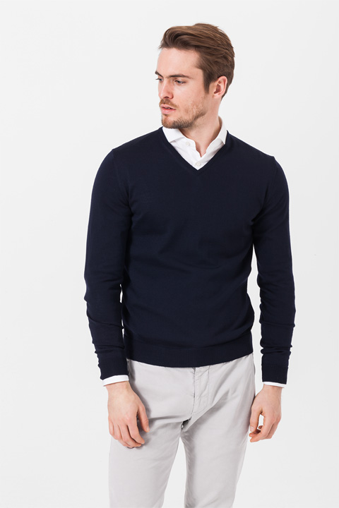 V-Neck-Pullover Marcello in Marine
