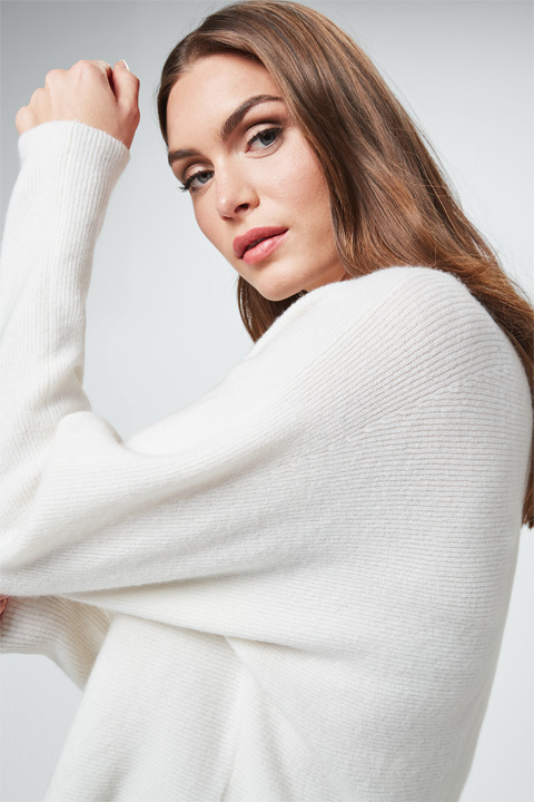 Pullover mit Cashmere in Créme