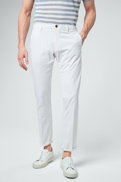 Leichte Chino Cino mit Leinen in Weiß