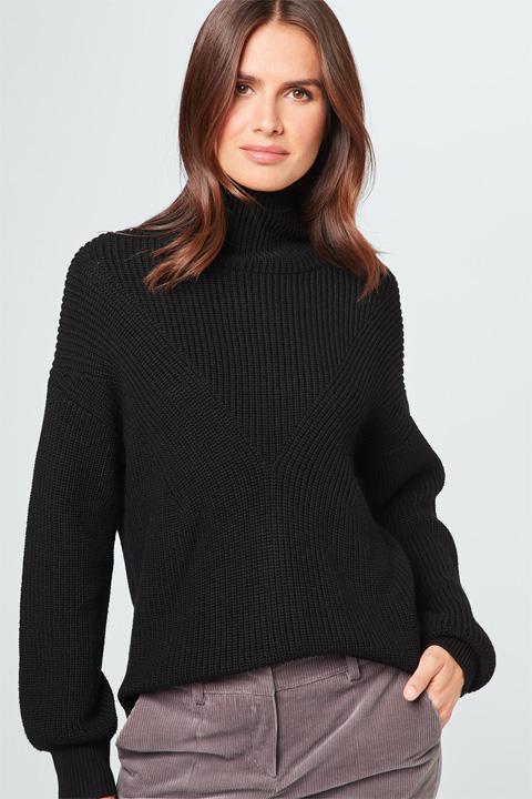 Schurwoll-Pullover in Schwarz