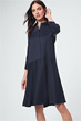 Baumwollstretch-Hemdblusen-Kleid in Navy