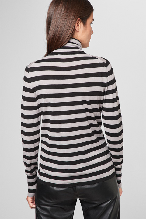 Pullover in Dunkelbeige-Schwarz gestreift