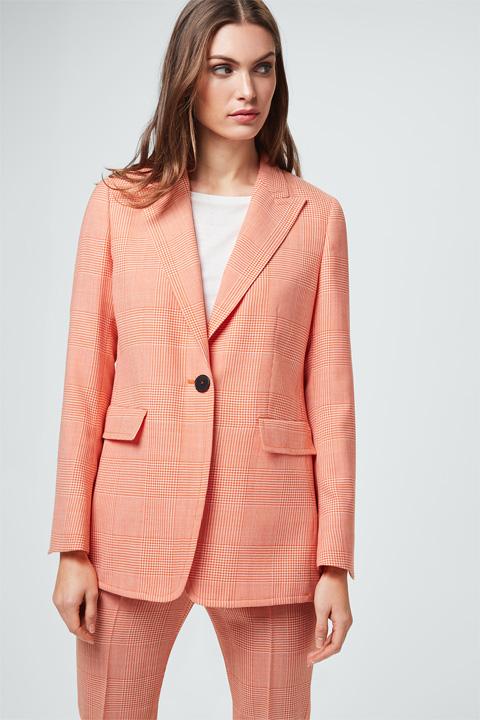 Glencheck-Long-Blazer in Orange-Weiß
