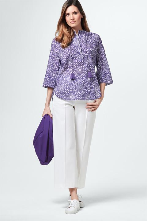 Bluse in Lila-Weiß gemustert