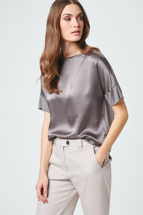 Blusen-Shirt in Grau-Nude
