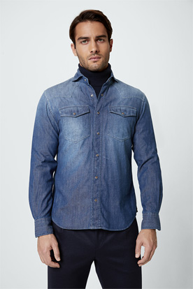 Jeans-Hemd Lennio in Denim Blue