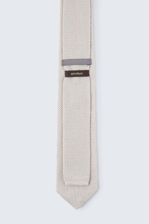 Baumwoll-Strick-Krawatte in Beige