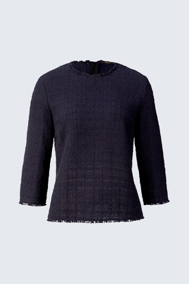 Bouclé-Bluse in Navy