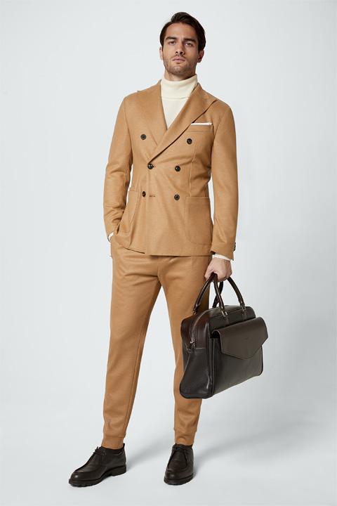 Jersey-Baukasten-Anzug Sandro Ferol in Camel