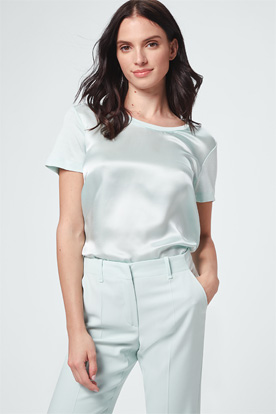 Seiden-Kurzarmshirt in Mint