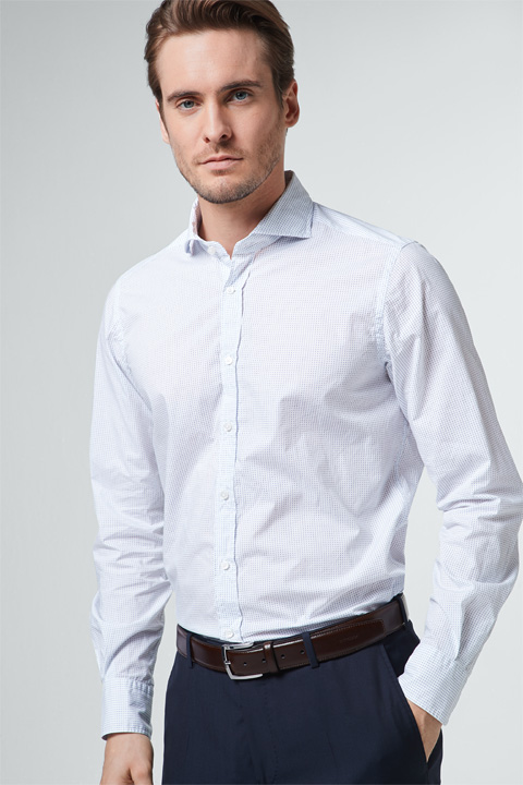 Smart-Shirt Lano in Weiß gemustert