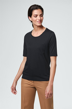 Tencel-Kurzarm-Shirt in Schwarz
