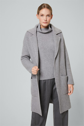 Smart Luxury langer Cashmere-Cardigan in Grau