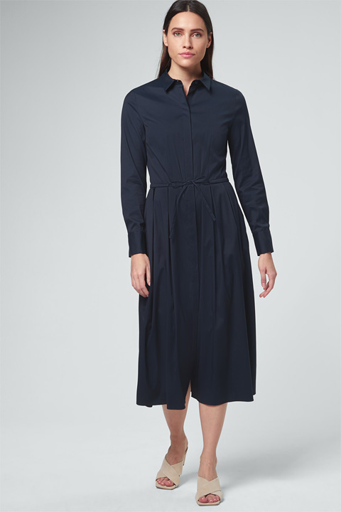 Baumwollstretch-Hemdblusenkleid in Navy