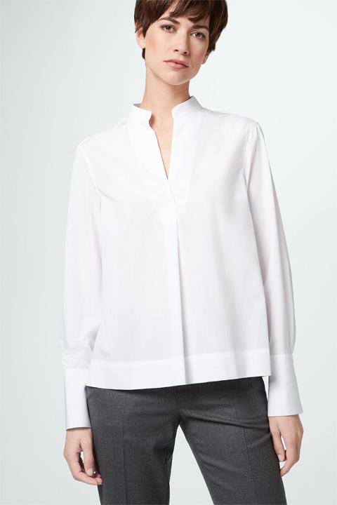 Baumwoll-Bluse in Weiß