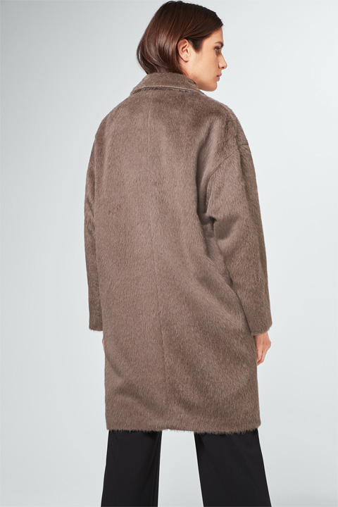 Oversize-Mantel mit Alpaka in Taupe