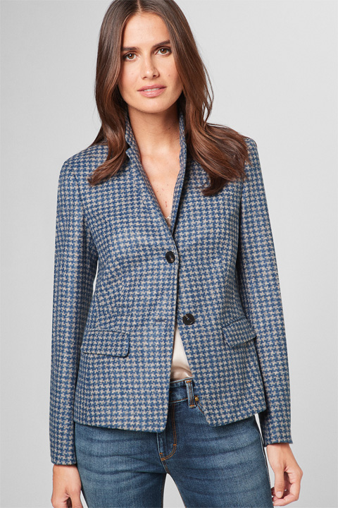 Jersey-Blazer in Blau-Grau gemustert
