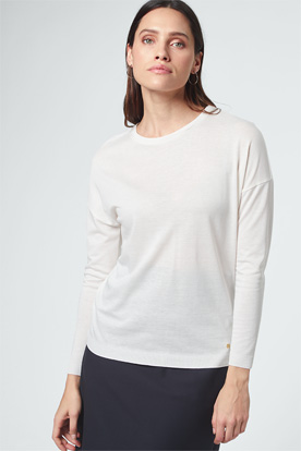 Tencel-Baumwoll-Langarm-Shirt in Ecru