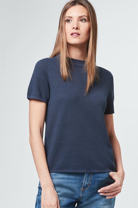 Seiden-Strick-Pullover in Blau