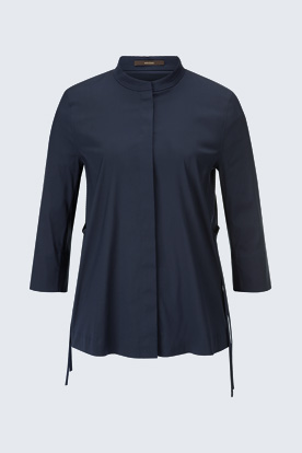 Baumwollstretch-Bluse in Navy