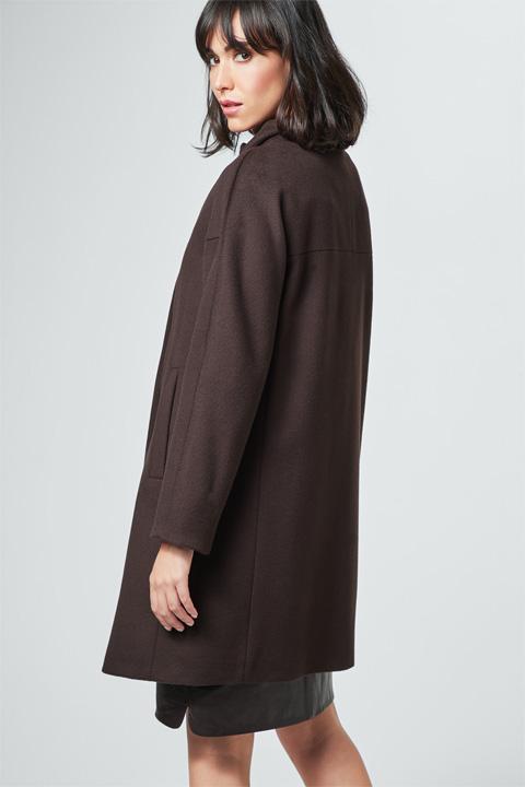 Oversize-Mantel mit Kaschmir in Dunkelbraun