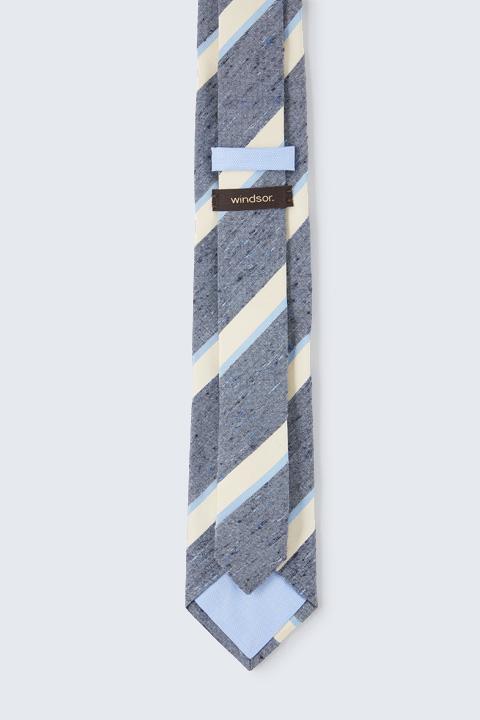 Krawatte mit Seide in Denim-Blue-Beige-Hellblau