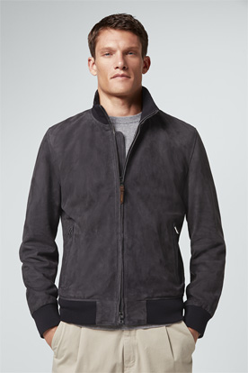 Velours-Lederjacke Baro in Navy