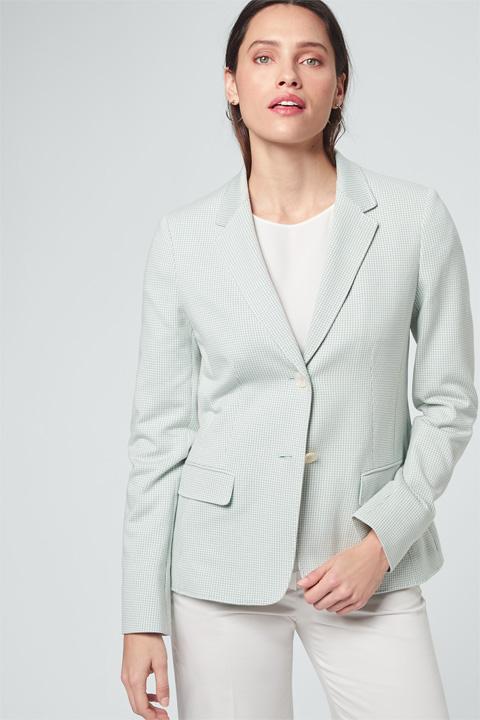 Jersey-Blazer in Mint-Weiß