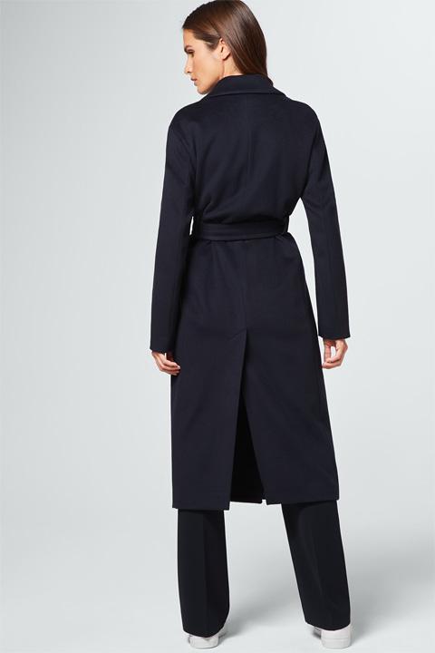 Langer Mantel mit Kaschmir in Navy