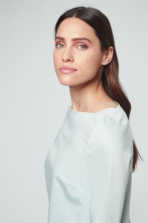 Baumwollsatin-Kleid in Mint