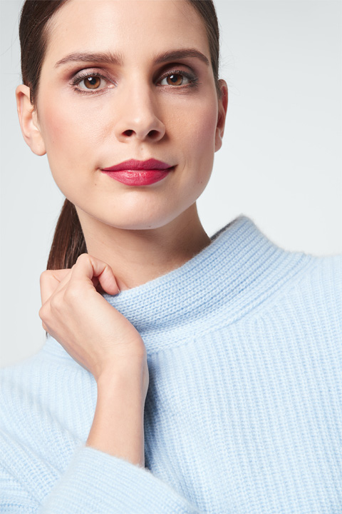 Cashmere-Pullover in Hellblau