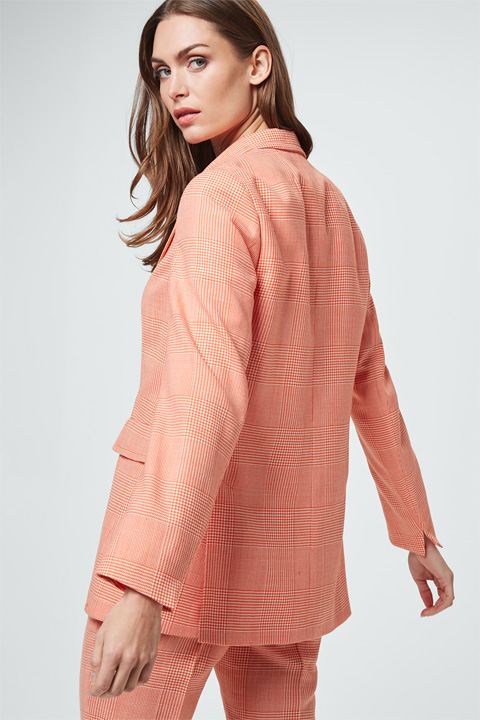 Glencheck-Long-Blazer in Orange-Weiß