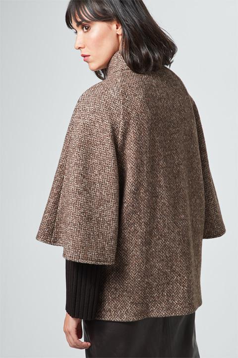 Cape-Jacke in Braun-Beige gemustert