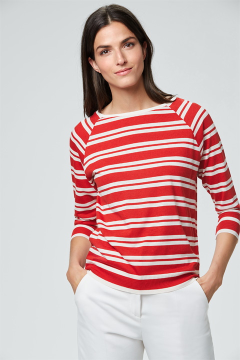 Tencel-Ringel-Shirt in Rot-Weiß