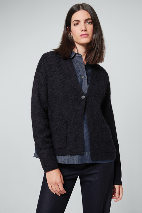 Cardigan mit Alpaka in Navy