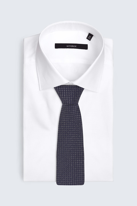 Seiden-Krawatte in Dunkelblau gemustert