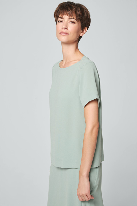 Crêpe-Bluse in Mint-Grün