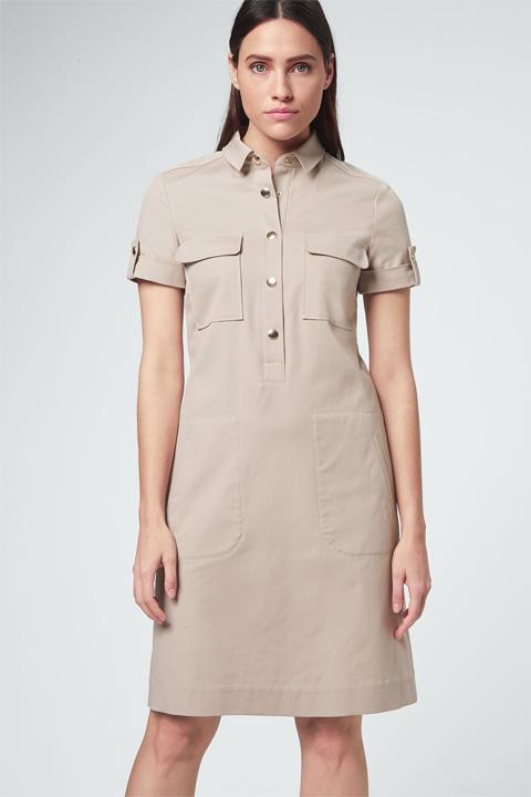 Hemdblusen-Kleid in Beige