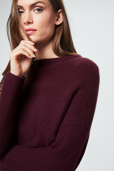 Cashmere-Pullover in Bordeaux