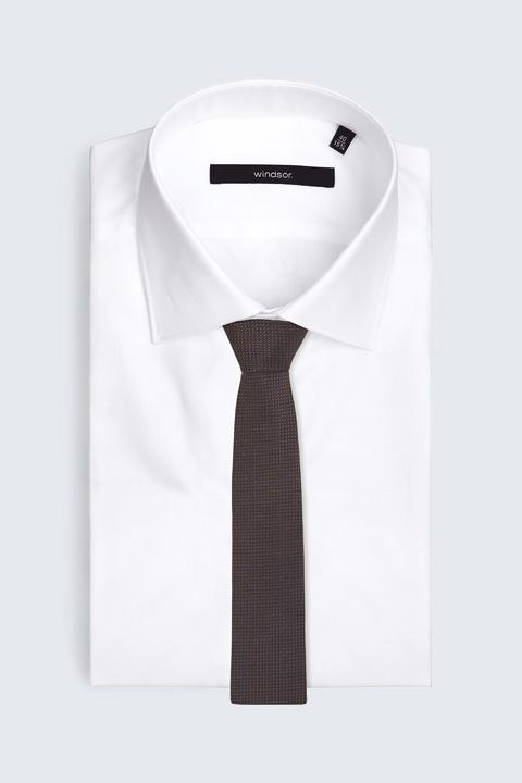 Seiden-Krawatte in Braun-Navy gemustert