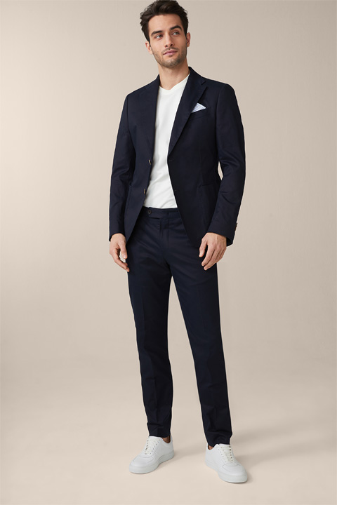 Solerto Santios Modular Cotton Satin Suit in Navy