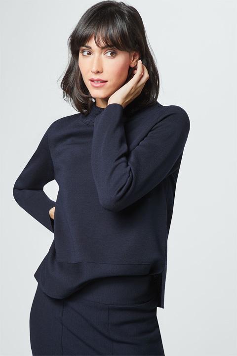 Feinstrick-Pullover in Navy