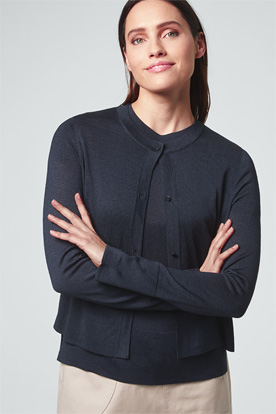 Seiden-Cardigan in Navy